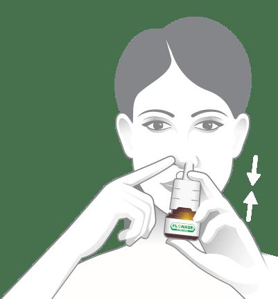 Bouchez une narine et insérez l'embout nasal dans l'autre narine.