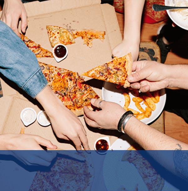 Group with Pizza