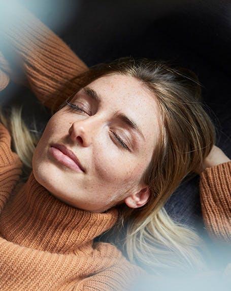Woman resting lying down