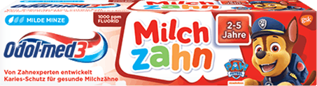 Odol-med3 Milchzahn Zahnpasta.