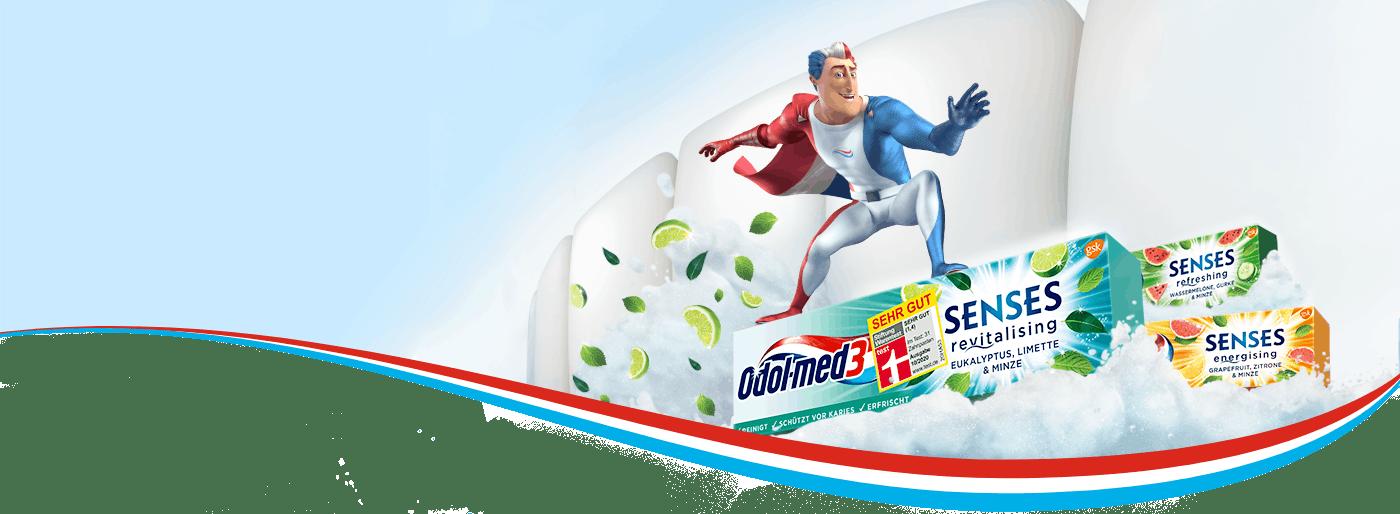 Der Superheld von Odol-med3 surft auf den neuen Odol-med3 Senses Zahnpasten - Senses Eukalyptus, Grapefruit und Wassermelone.
