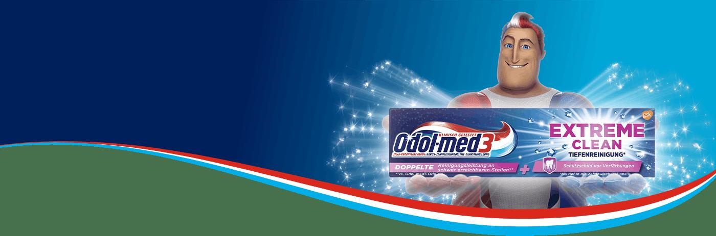 Der Superheld von Odol-med3 hält die Extreme Clean Zahnpasta.
