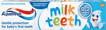 Aquafresh Milk Tooth toothpaste playful blue and white packaging with Milky.