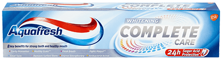 Aquafresh All In One Whitening toothpaste packaging with silver accents.