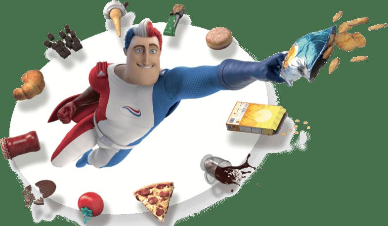Der Superheld  von Odol-med3 fliegend, umgeben von verschiedenen Lebensmitteln - Tomate, Pizza,...