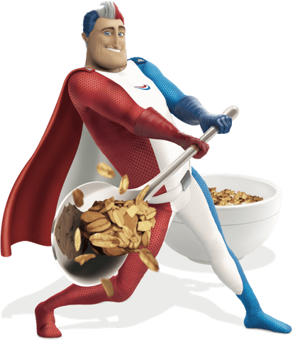 Captain Aquafresh hitting one of the common hidden culprits filled with sugar - cereal.