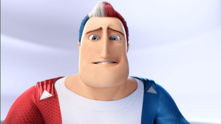 Captain Aquafresh feeling and looking uncomfortable.