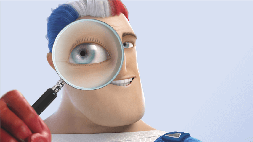 Captain Aquafresh inspecting something with a magnifying glass.