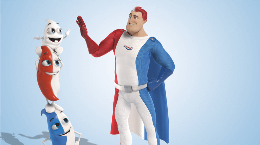 Captain Aquafresh giving high five to Milky who is standing atop of Billy and Lilly.