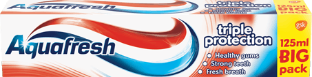 Aquafresh Triple Protection toothpaste red, white and blue packaging.