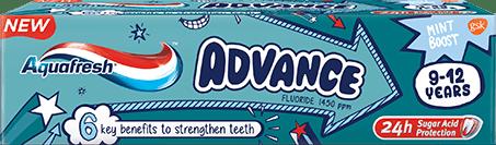 Aquafresh Advance toothpaste mint green packaging.