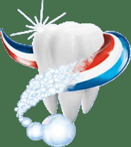 A teeth getting cleaned with Aquafresh stripes