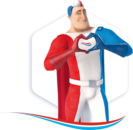 Captain Aquafresh making a heart with his hands to show how much he likes the Aquafresh swoosh.