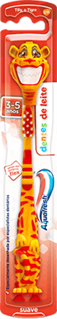 Aquafresh Little Teeth toothbrush with a playful green dragon design and red packaging.
