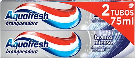 Aquafresh Pure White Tingling Mint toothpaste white packaging with polar blue accent.