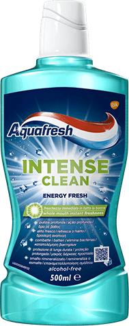 Aquafresh Intense Clean Deep Action toothpaste blue packaging with pink accent.