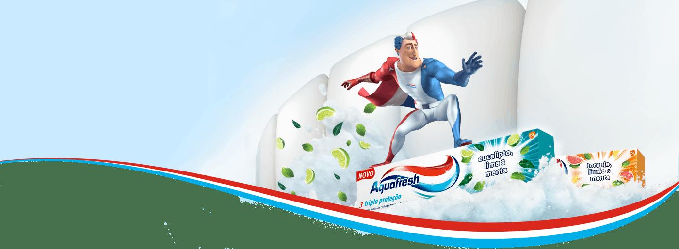 Captain Aquafresh surfing on new Aquafresh Senses toothpastes - Senses Revitalising, Senses Refreshing and Senses Energising.