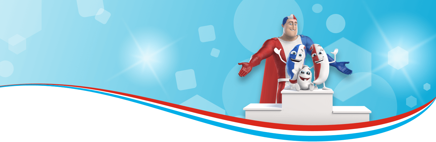 Captain Aquafresh with Lilly, Billy and Milky.