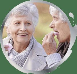 elderly women having a conversation