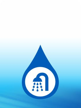 showerhead icon with blue background
