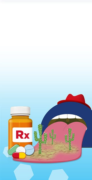 Cartoon depicting that medication is the one of the main reasons for having a dry mouth
