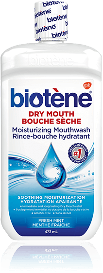 A bottle of Biotène Dry Mouth Moisturizing Mouthwash