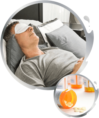 Man sleeping with a sleep mask with an inset image of bottles of pills