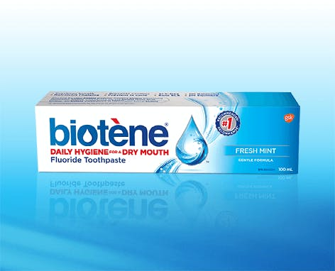 Box of Biotène Fresh Mint Fluoride Toothpaste