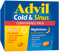Advil Cold & Sinus Daytime / Nighttime package design