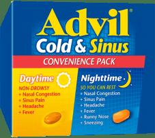 Advil Cold & Sinus Daytime / Nighttime package design