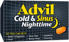 Advil Cold & Sinus Nighttime package design