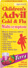 Children's Advil Cold & Flu Multi-symptom Suspension package design