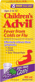 Children's Advil Fever from Colds or Flu package design