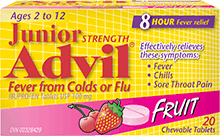 Junior Strength Advil Fever from Colds or Flu Chewables package design