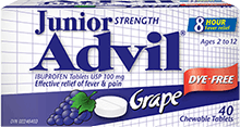 Junior Strength Advil package design