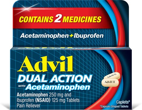 Advil Dual Action Caplets, Ibuprofen with Acetaminophen, 18 Pain Relief Capsule-Shaped Tablets