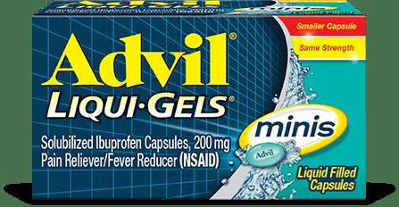fast liquid gel relief, easy to swallow capsule - Advil Liqui-Gels minis