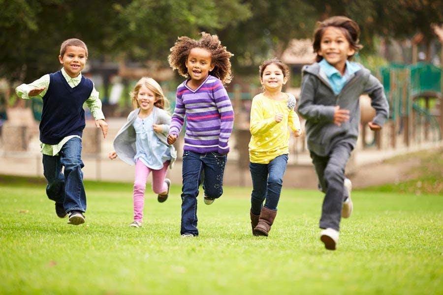 Group of healthy children running