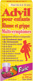 Suspension Advil pour enfants Rhume et Grippe Multi-symptômes package design