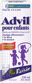 Suspension Advil pour enfants package design