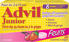 Comprimés à croquer Advil Junior Fièvre due au rhume ou à la grippe package design