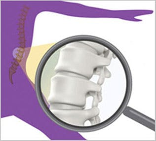 Healthy bones and magnifying glass