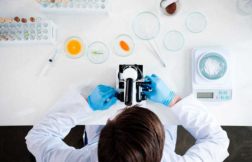 overhead view of a person adjusting a microsope on a lab bench