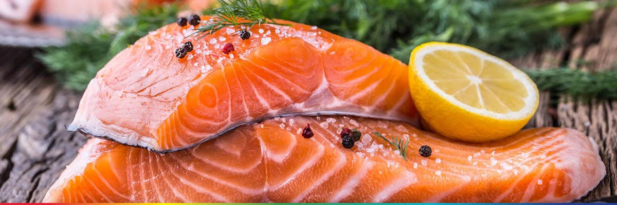 Two slices of raw salmon