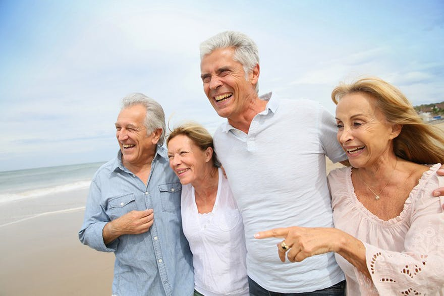 Healthy elderly at the beach thumbnail