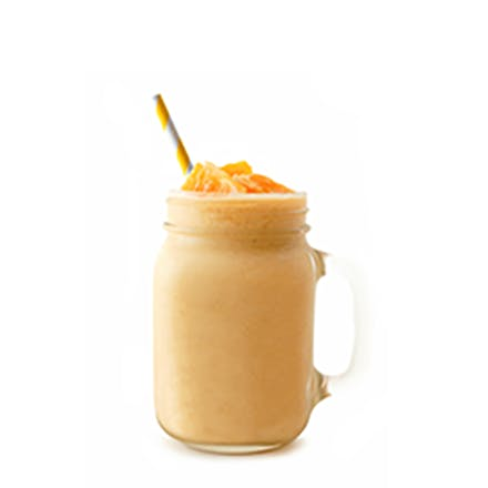 C For Me Smoothie in clear mug with orange straw