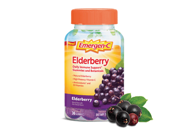 Box of Emergen-C Daily Immune Support Gummies and Botanicals in Elderberry