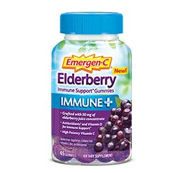 Bottle of Emergen-C  Immune+ Gummies Elderberry