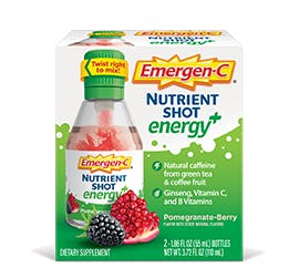 Box of Emergen-C Energy Plus Nutrient Shots in Pomegrante-Berry