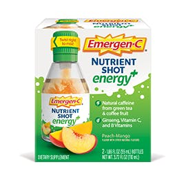 Box of Emergen-C Energy Plus Nutrient Shots in Peach-Mango Flavor